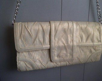 Vintage Jessica McClintock Ivory Pearlescent Envelope Purse Shoulder bag ~ Evening Bag