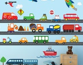 Cars Construction Airplanes Boats Transportation Decal, REUSABLE Decals Non-toxic Fabric Wall Decals for Kids, A218