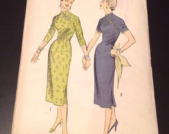 Vintage 1950s CHEONGSAM Sheath Dress FACTORY FOLDED