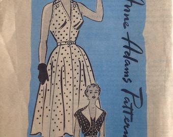 1950s Vintage Misses' 1950s Anne Adams Mail Order SUNDRESS with BOLERO Jacket Sewing Pattern - Size 14-1/2