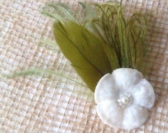 vintage white or light ivory velvet flower hair clip with antique beads and vintage green feathers olive feathers headpiece