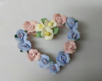 Avon Hearts and Flowers Brooch Porcelain