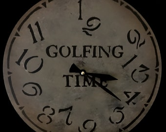 12 Inch GOLFING TIME CLOCK with Jumbled Numbers in Shades of Gray with Charcoal