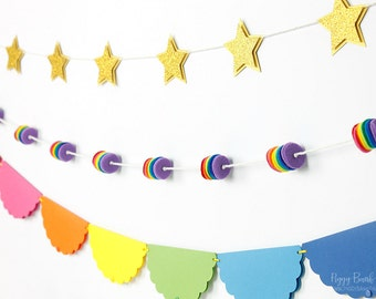 Rainbow and Star Garlands : Handcrafted Rainbow Party Decoration | Paper Bunting | Felt Garland | Pony Party | Unicorn | Art Party