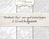 Digital Clip Art, Handmade White Lace Papers Art E15-10B4 for scrapbooking, cards, invitations, tags antique vintage  photo background