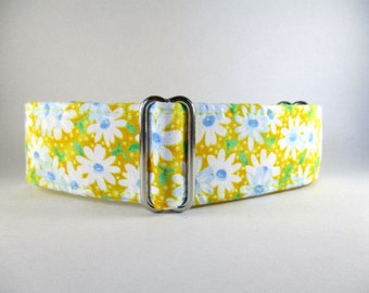 Yellow Martingale Collar, 1.5 Inch Martingale Collars, Yellow Dog Collar, Side Release Dog Collar, Daisy Martingale Collar, Greyhound Collar