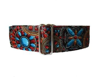 2 inch Martingale Collar, Fall Martingale Collar, Orange, Turquoise Martingale Collar, Dog Collar, Martingale Dog Collar
