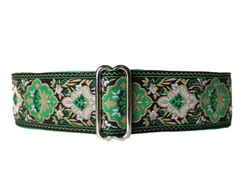 Green Martingale Collar, 1.5 Inch Martingale Collar, Jacquard Martingale Collar, Christmas Dog Collar, Green Dog Collar, Jacquard, Greyhound