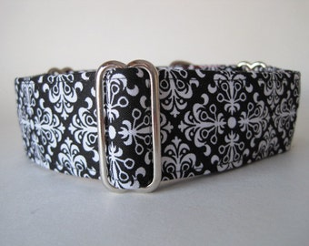 1.5 inch Martingale Collar, Black and White Martingale Collar, Black and White Dog Collar, Greyhound Collar, Sighthound Collar