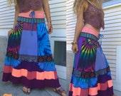 RESERVED Eco long boho Skirt, Size S/M, full skirt, patchwork skirt, hippie skirt, boho skirt, festival skirt, rainbow tie dye, Zasra