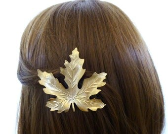 Autumn Hair Clip Gold Maple Leaf Barrette Bridesmaid Clip Fall Bride Bridal Nature Rustic Woodland Wedding Accessories Womens Gift For Her