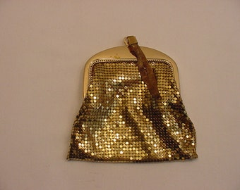Vintage Whiting And Davis Gold Lame Mesh Wristlet Purse  15 - 70