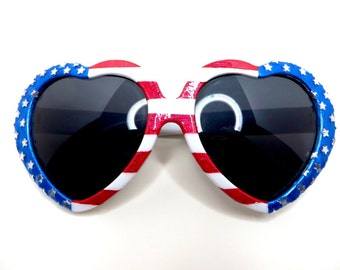 Red White Blue Heart Shaped Sunglasses with Stars and Stripes American Flag Design