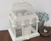 Large Wood Bird Cage, Vintage Cream Shabby Chic Birdcage, Wood and Metal Shabby Chic Birdcage