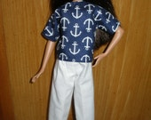 Handmade clothes for Skipper - navy and white anchor top with white capris