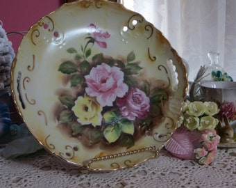 Vintage Hand Painted Plate-Marked-Dessert-Roses-8 inch