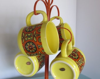 Vintage Made in Japan Enesco Coffee Mugs and Tree-Mid-Century-Kitchen-Yellow and Orange-1970's-Retro Chic-UNUSED