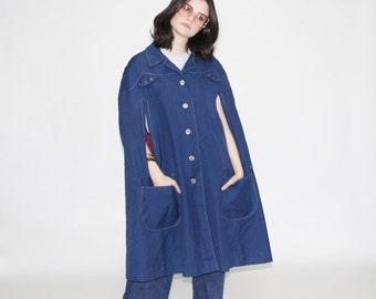 75% OFF FINAL SALE - Vintage 1960s Cape  - Vintage 60s Poncho - The Where's Watson Jacket - Wo0158