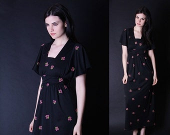 SALE 65% OFF ends 02/16 Vintage Maxi Dress  - Vintage Floral Dress  - Black and Pink Dress - Cherry Blossom Dress - 2863