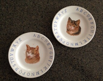 Childrens Kitten Alphabet Plate pair orange tabby calico cat