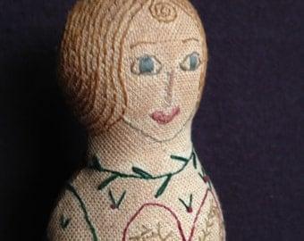 Embroidery primitive folk art stump doll