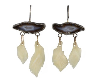 Geode Libra Earrings - Tobacco Geodes, Gar Fish Scales, Recycled Silver and 14k Gold - Mixed Metal, OOAK, Dangle, Talisman, Chandelier