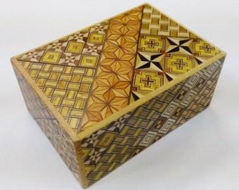Japanese Puzzle box (Himitsu bako)- 4.5inch(115mm) Standard 14 steps Yosegi R