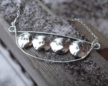 15% off - Personalized Peapod Name or Word Necklace (4 peas)