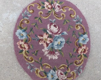 Oval Floral Needlepoint