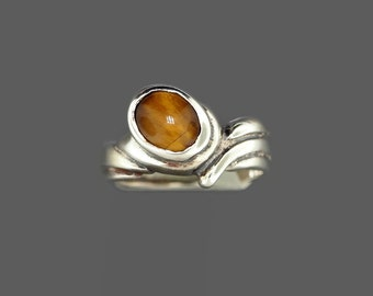 Free Form Style Sterling Silver Ring with Gemstone