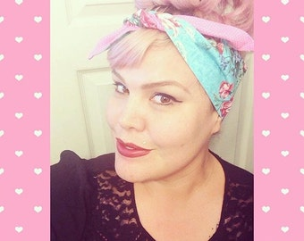 Vintage Inspired Headscarf, Turquoise Floral, Pink Polka Dots, Retro, Rockabilly