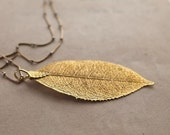 vintage gold leaf necklace - DIPPED 14k gold pendant