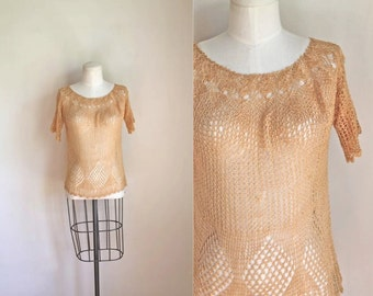 vintage 1970s crochet blouse - WHEAT open knit top / S-M