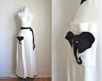 50% OFF... last call /// vintage 1970s novelty skirt - BLACK ELEPHANT applique wool wrap skirt / s-m
