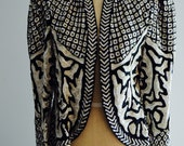 Vintage Sequin Jacket Black and White Beaded Night Evening Cropped Silk Fancy Glam Party  Cardigan