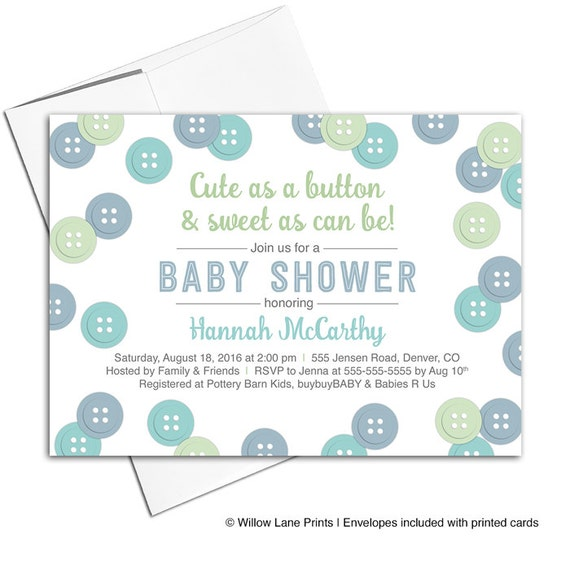 shower invitations printable or printed cute as a button baby shower