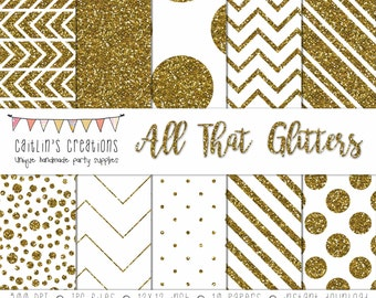 Gold Glitter Digital Scrapbook Paper - 10 Papers - 12x12 - Gold and white - INSTANT DOWNLOAD