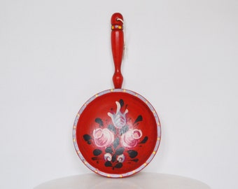 Folk Floral Red Wooden Wall Hanging