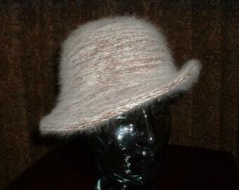 Vintage Italian Angora Blend Knit Hat Fedora Brim Small Cream & Brown Latte' Color