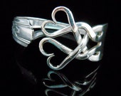Antique Silverware Jewelry Fork Bracelet in Original Weaving Hearts Design