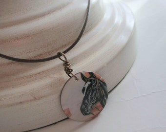 Leather Necklace Horse Shell Charm Necklace