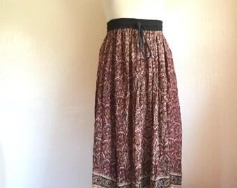 Vintage 90's bohemian brown Indian print skirt