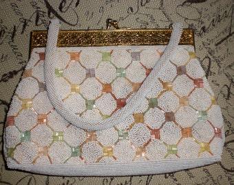 Beaded handbag, Seed bead, vintage, Pastel colors,Brass frame, repurpose or repair