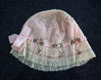 Antique 1800s French Lace Child's Bonnet Pink Ribbon Roses France Photo Prop