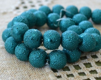 33pcs 12mm Teal Glass Pearl Bead Textured Round 16 in Strand