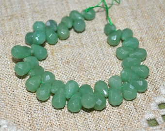 40pcs Green Aventurine Faceted Briolette 8x6mm Natural Gemstone Beads 8 Inches Strand
