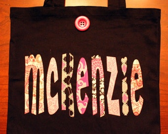 Girls Large Personalized Tote (with button closure) unique birthday gift idea flower girl wedding party book bag pink gray black custom