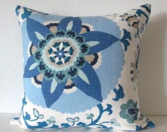 Silsila Indian Sea suzani blue sea green decorative pillow cover