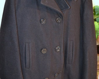Vintage US Navy Naval peacoat~Men size Small (S)~Dark blue Melton wool pea coat~USN label~Military uniform winter outerwear coat~