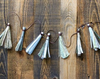 Map Tassel Garland - Made From Vintage Atlas - Birthday, Going Away Party, Home Decor